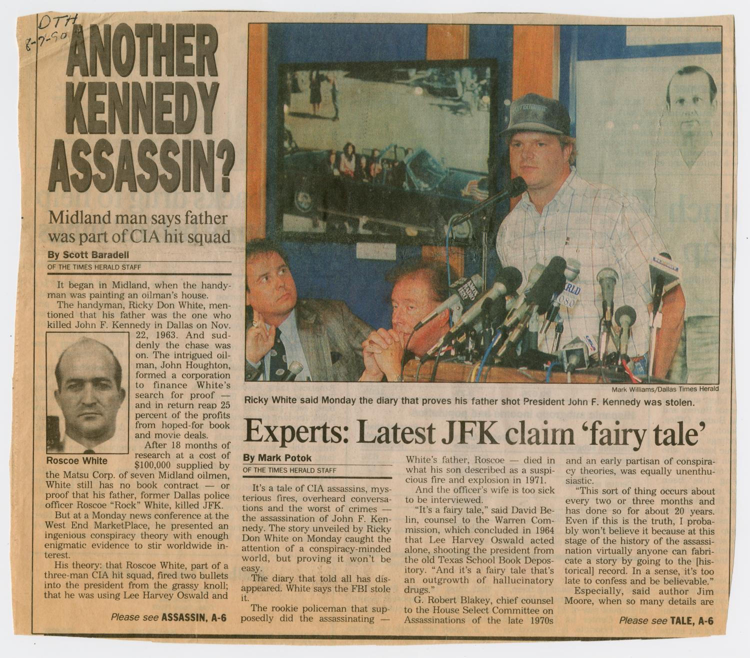 account of the ricky white story in the jfk assassination case Jfk assassination theorists alex the 1963 assassination of john f kennedy and the dense tangle with an attack on howard's pet theory, the ricky white story.